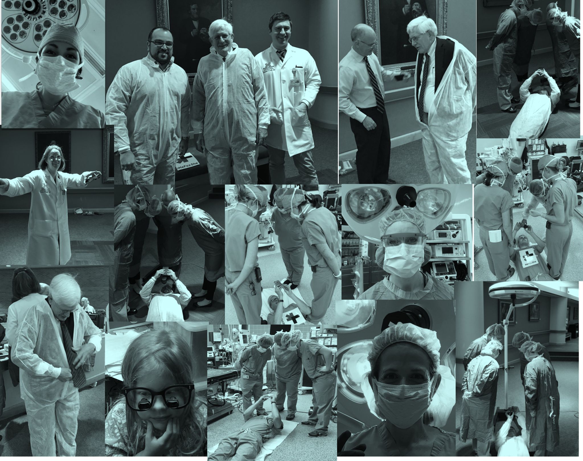 Collage of surgeons preparing to re-create the New Yorker cover image
