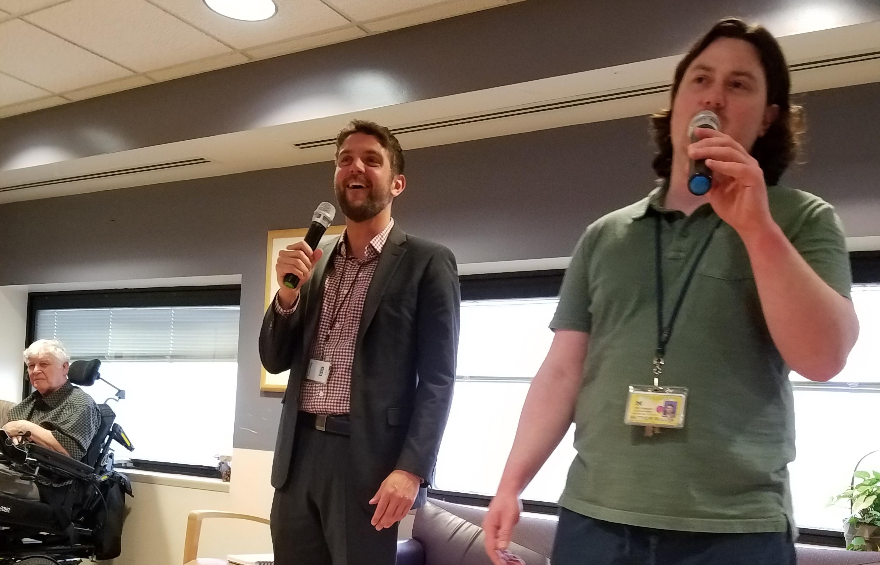 Matt Mullen and Matt Douponce sing karaoke