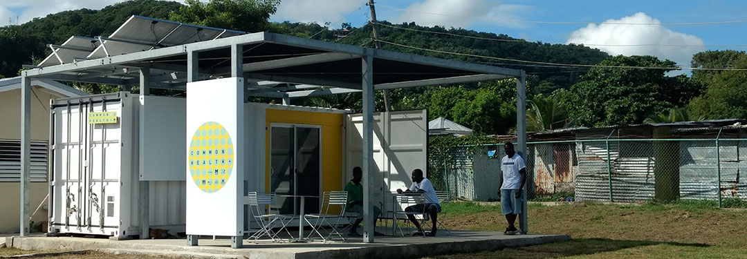 A prototype pop-up eye clinic built out of a shipping container is constructed in Jamaica.