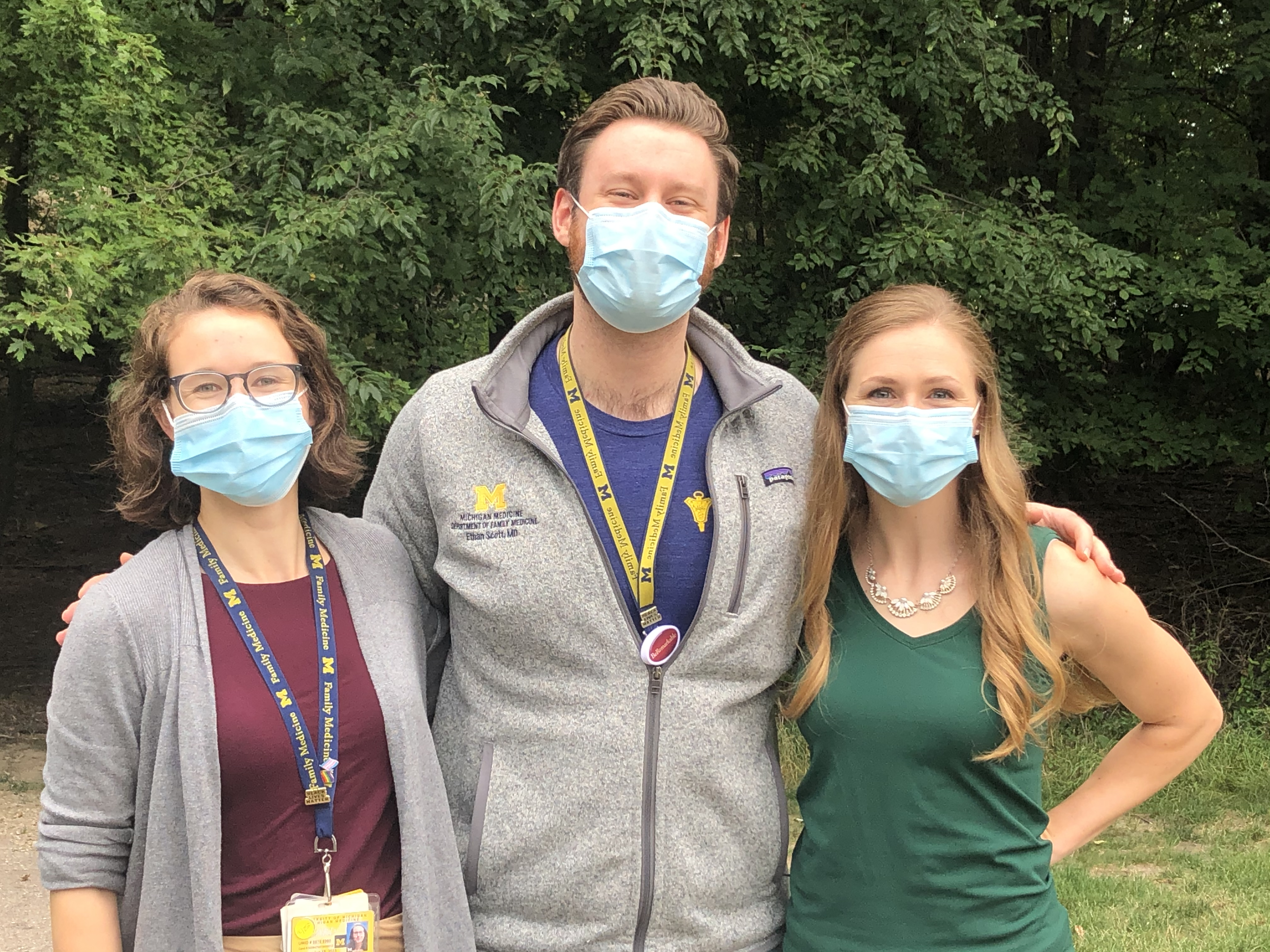 Three physicians with masks. 2020-2021 Co-Chief Residents