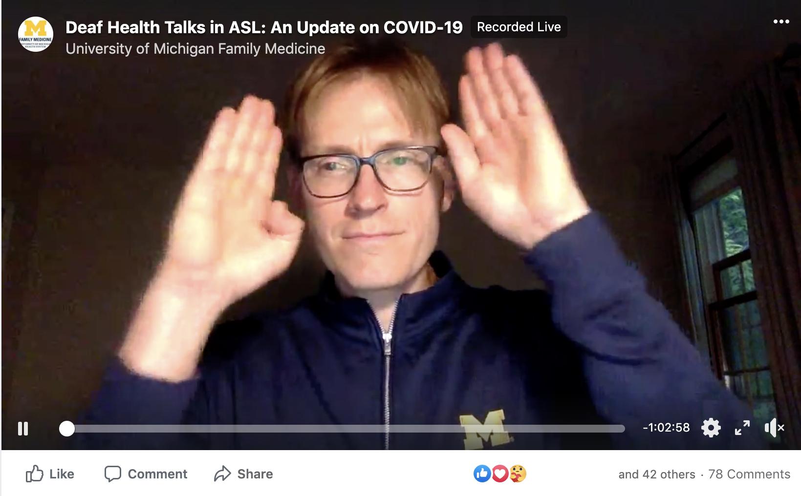 deaf health talk on covid-19 screenshot