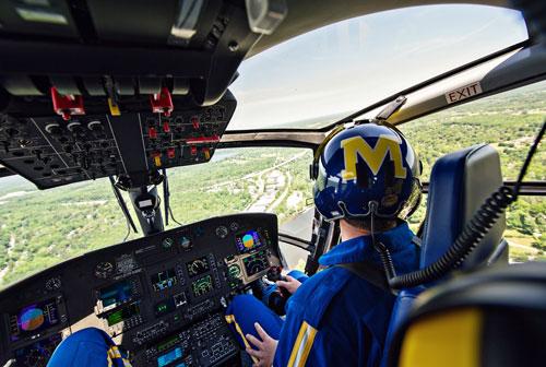 Survival Flight pilot wearing a block-M helmet