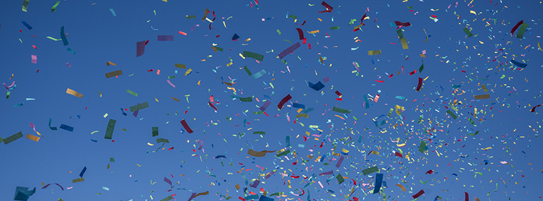 Faculty Recognition - Confetti in the sky