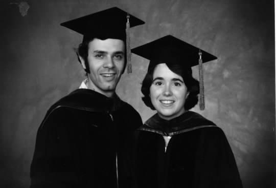 Barbara Reed and Philip Zazove in graduation garb