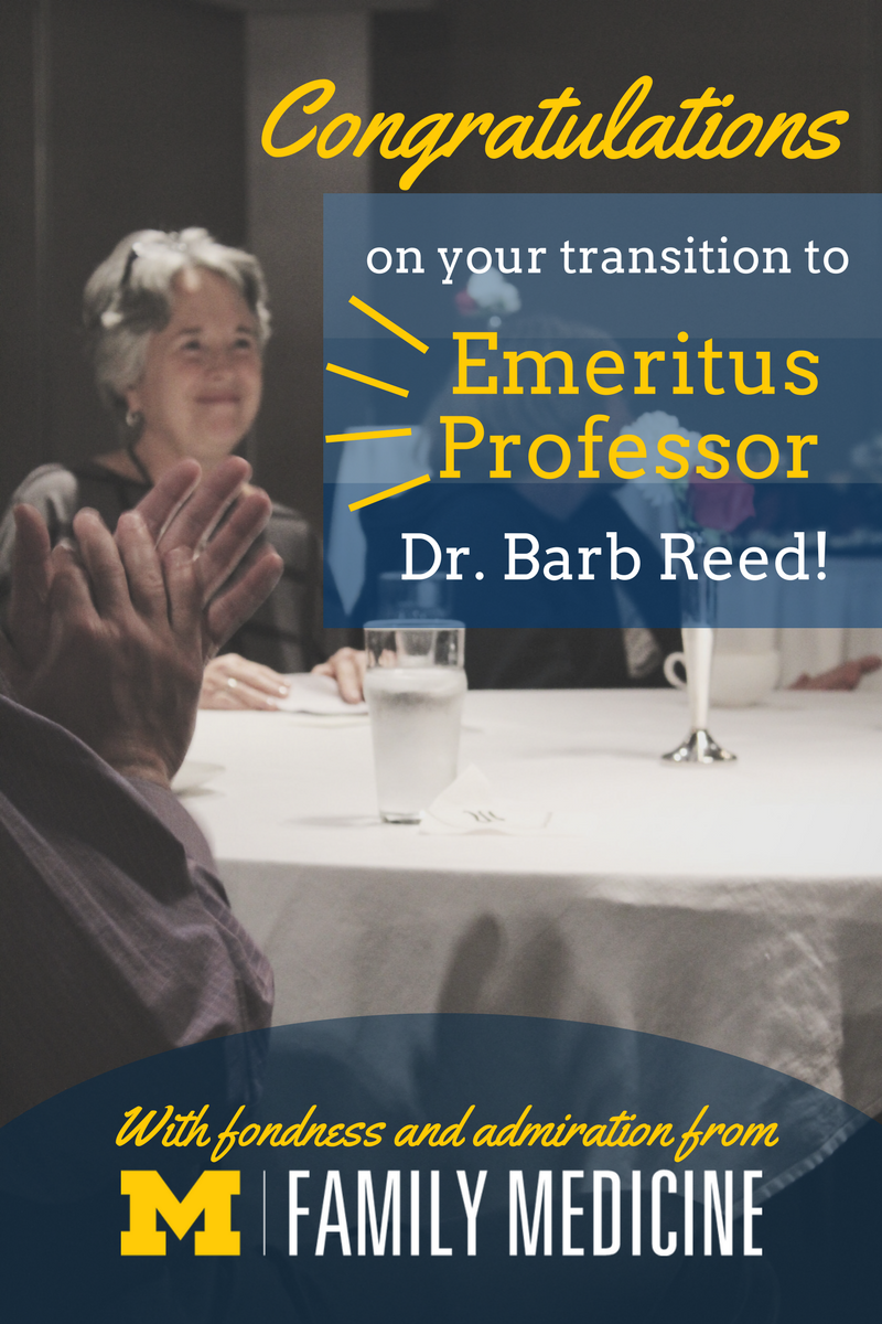 congratulations on your transition to emeritus professor dr. barb reed graphic