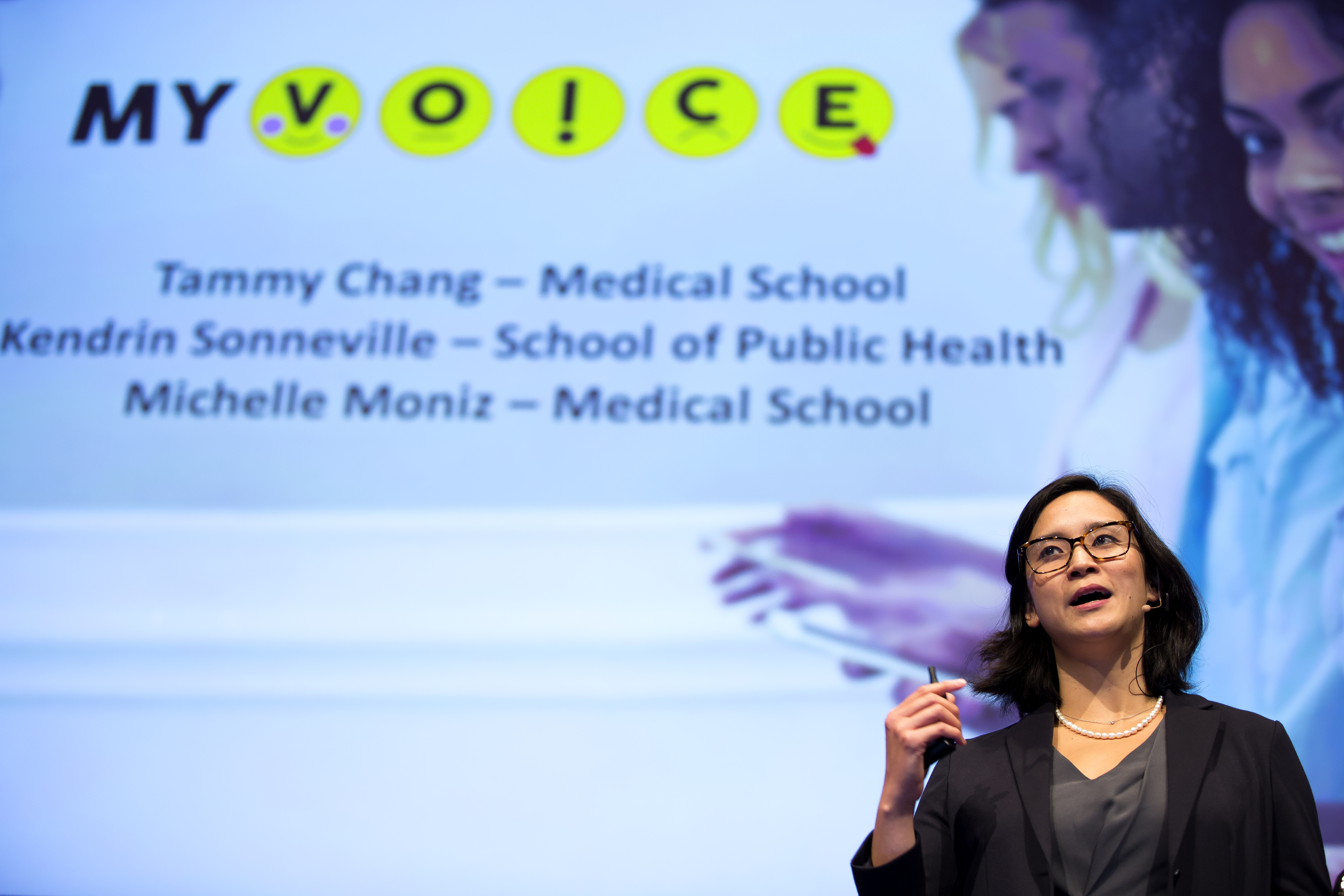 Tammy Chang presenting MyVoice at MCubed
