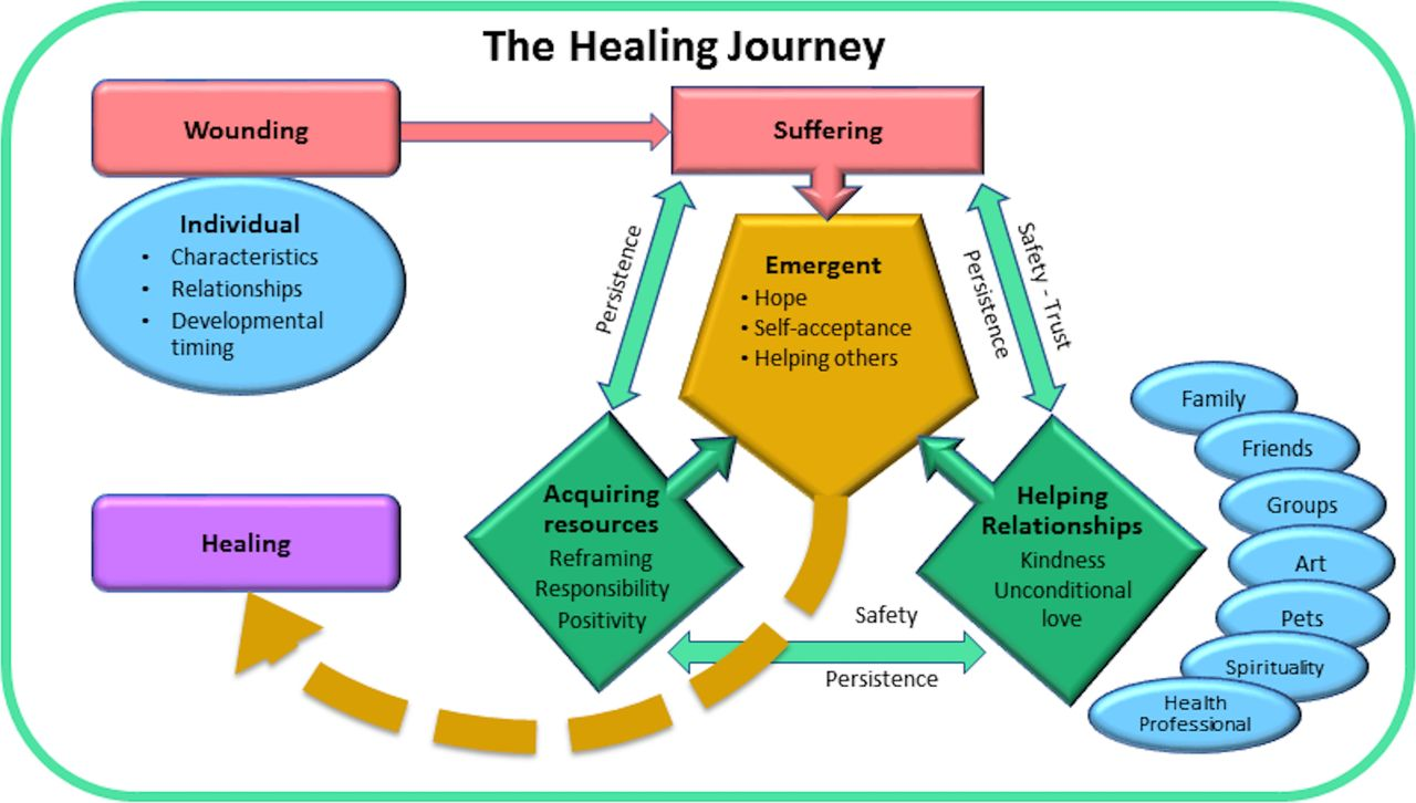 Diagram of the healing journey, developed by Sara Warber and coauthors, to describe the process of illness and healing in a social context