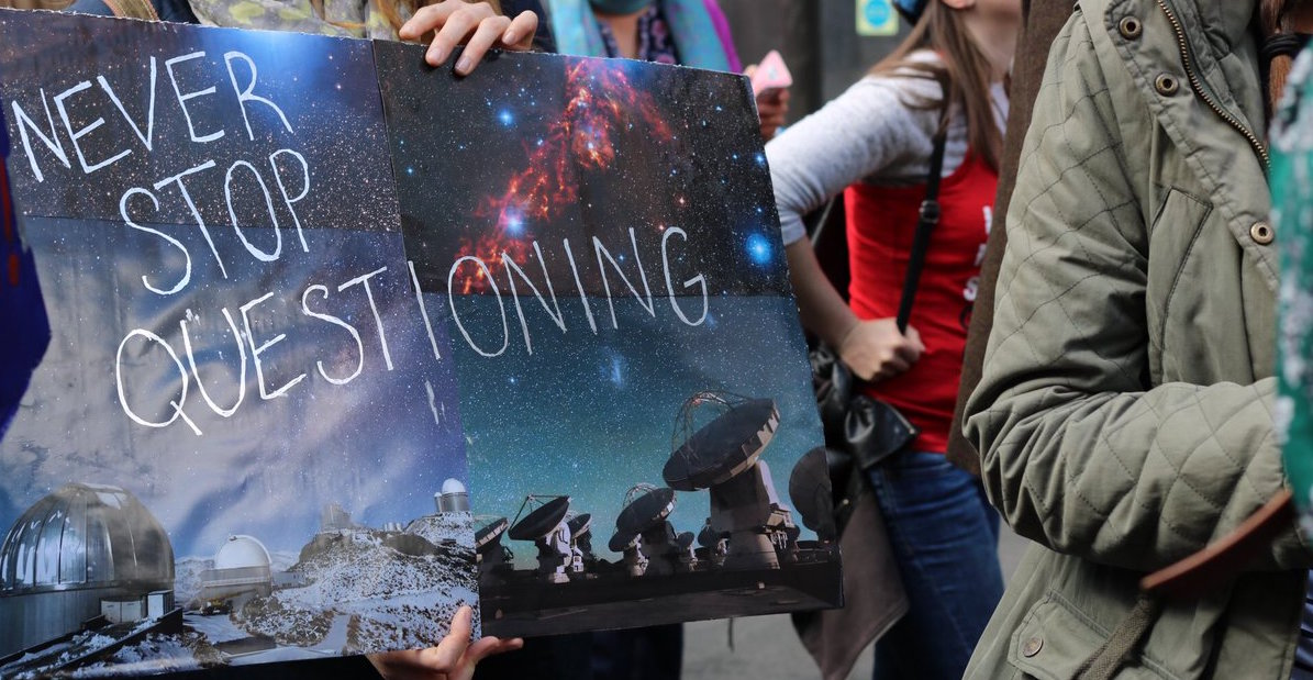 Sign from 2017 March for Science that reads Never Stop Questioning