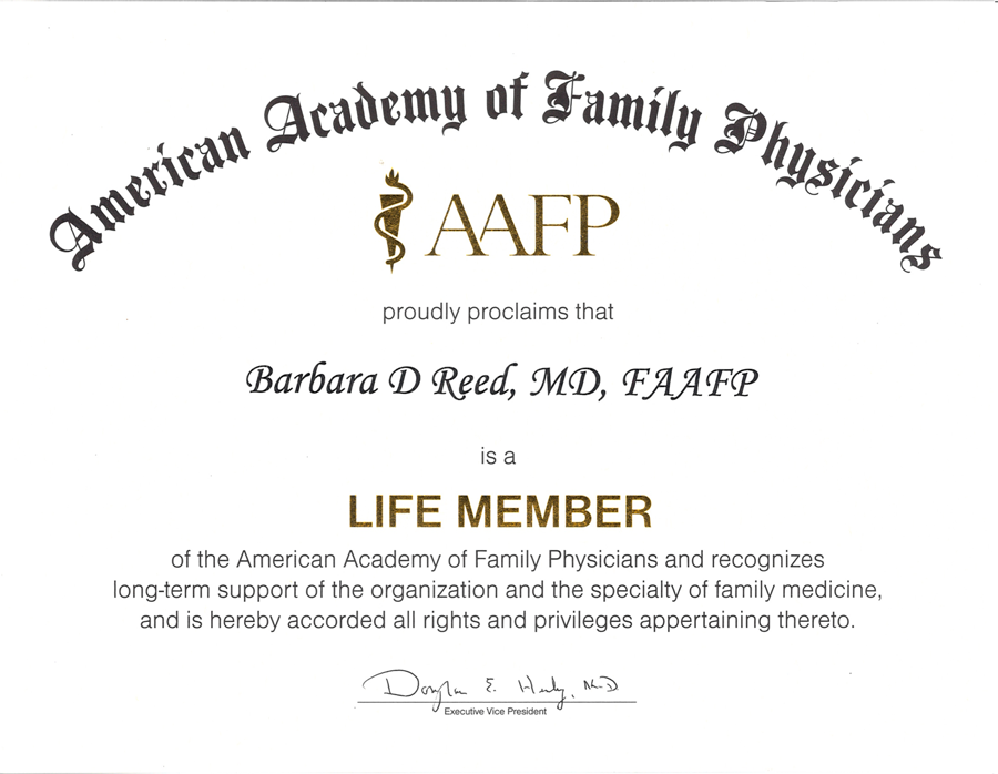 American Academy of Family Physicians life member award to Barbara Reed