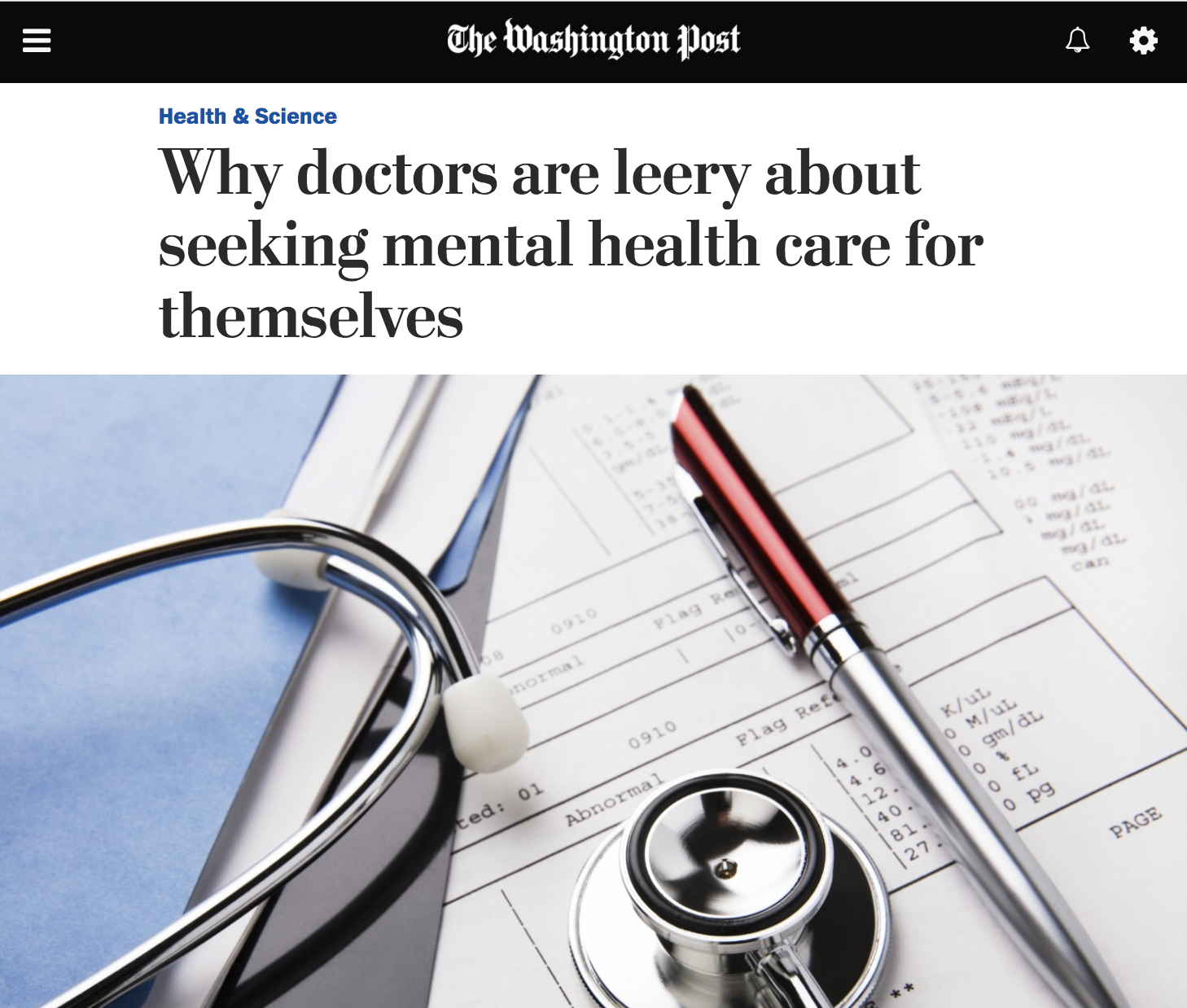Screenshot of Washington Post online opinion article with title  Why doctors are leery about seeking mental health care for themselves