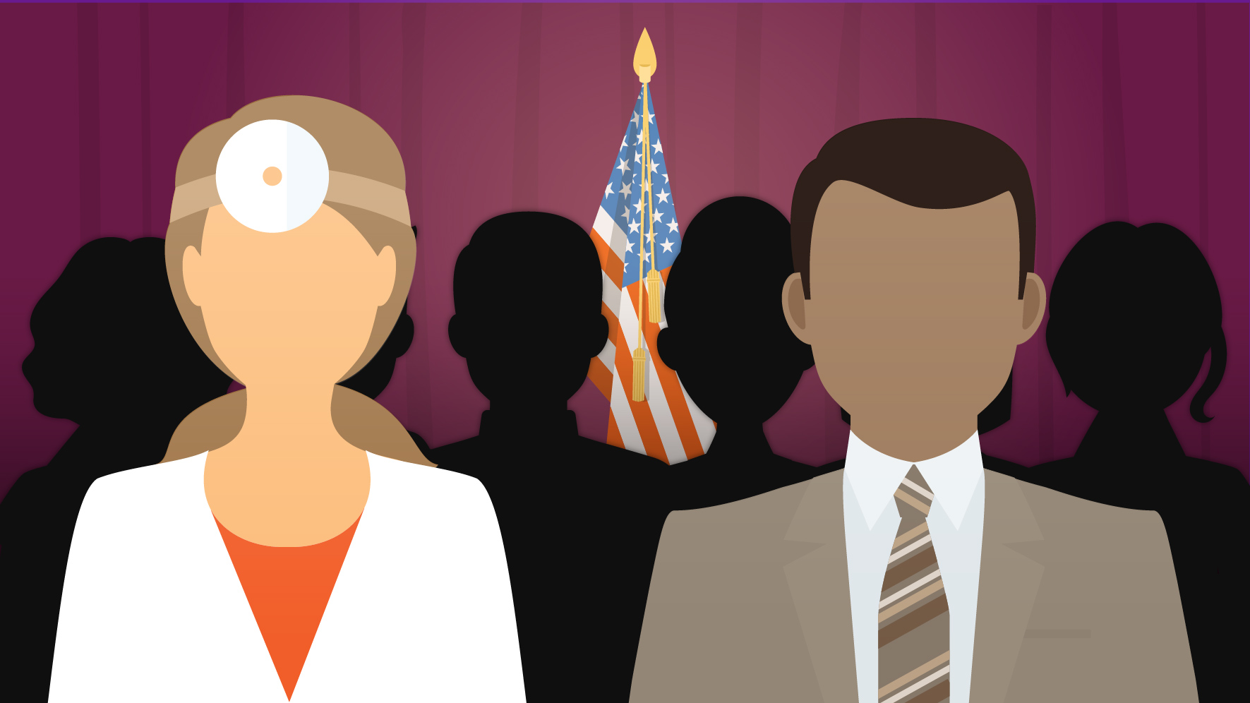 illustration of doctors standing in front of USA flag