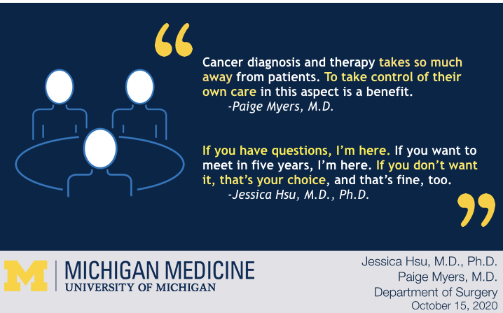 Breast cancer reconstruction graphic: Three people at a table discussion options