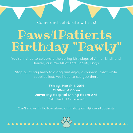You are invited to a Paws4Patients Birthday Party!