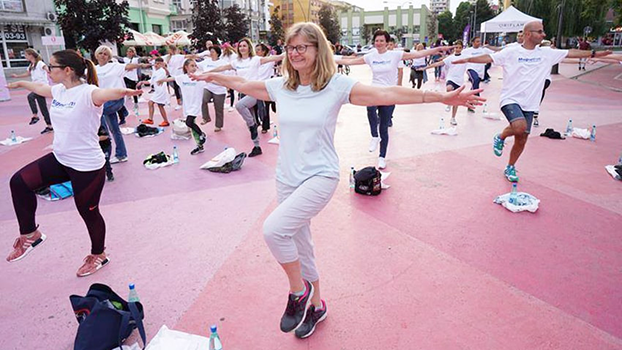 Zora Djuric in Serbia participating in public exercise program