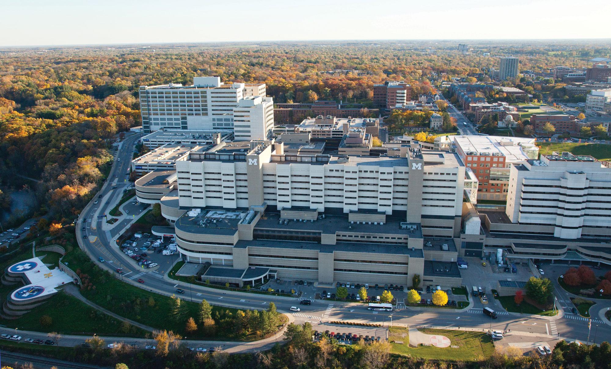 Aerial view of Michigan Medicine medical campus