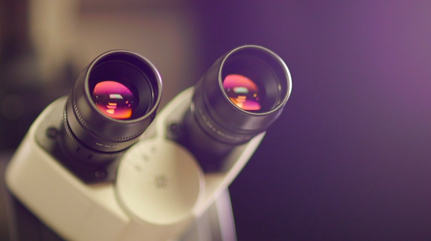 Close-up of a microscope.