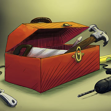 Open toolbox containing tools