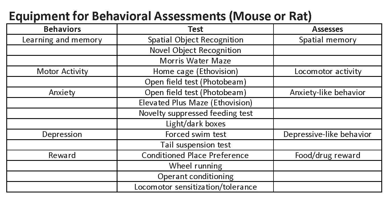 Equipment for behavioral assessments (mouse or rat)