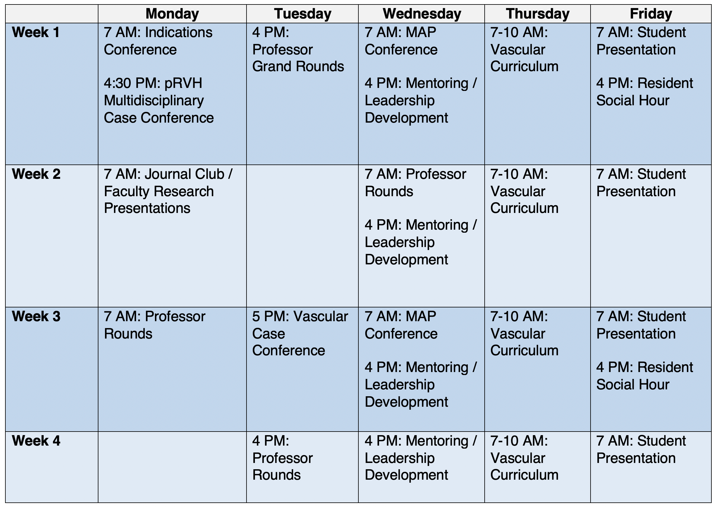 Vascular Surgery Virtual Elective Conference & Didactics Schedule