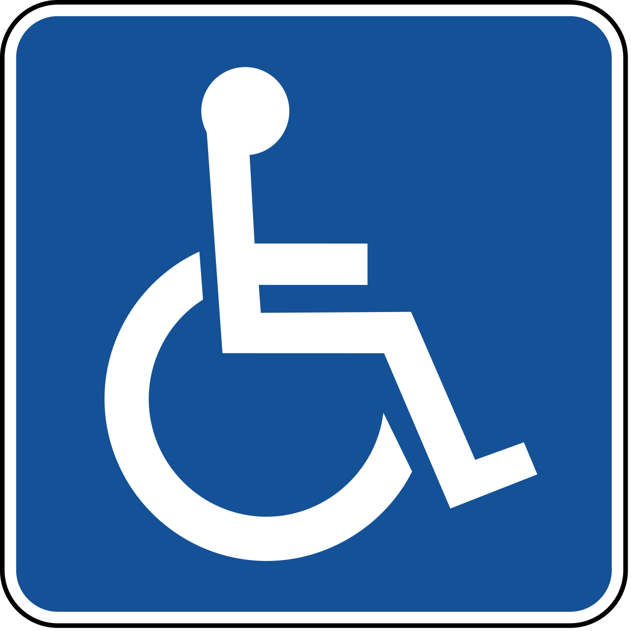 blue sign with white wheelchair icon, the international sign of access