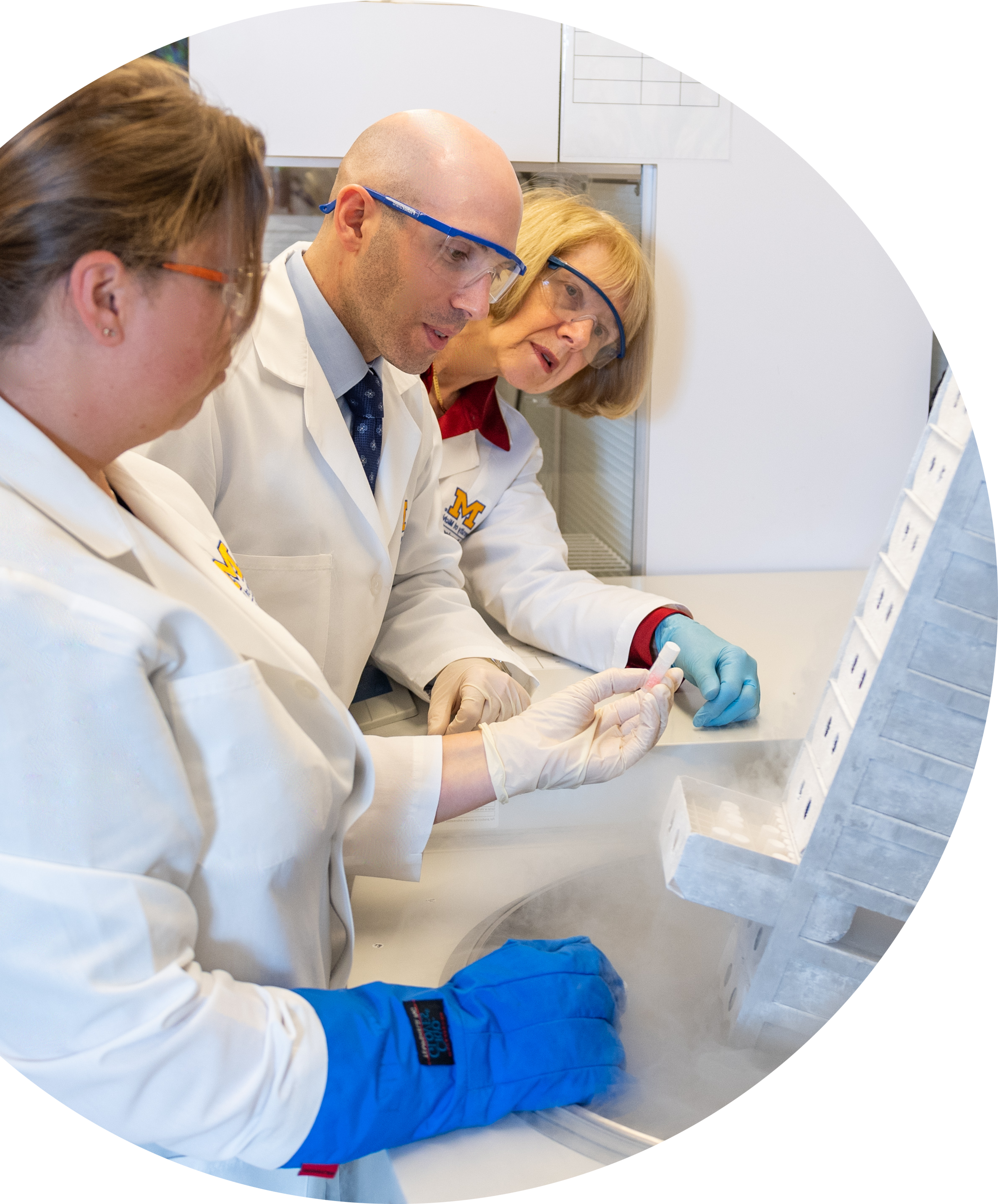 Drs. Eva Feldman and Stephen Goutman with Crystal Pacult in the biorepository of the ALS Center of Excellence at Michigan Medicine