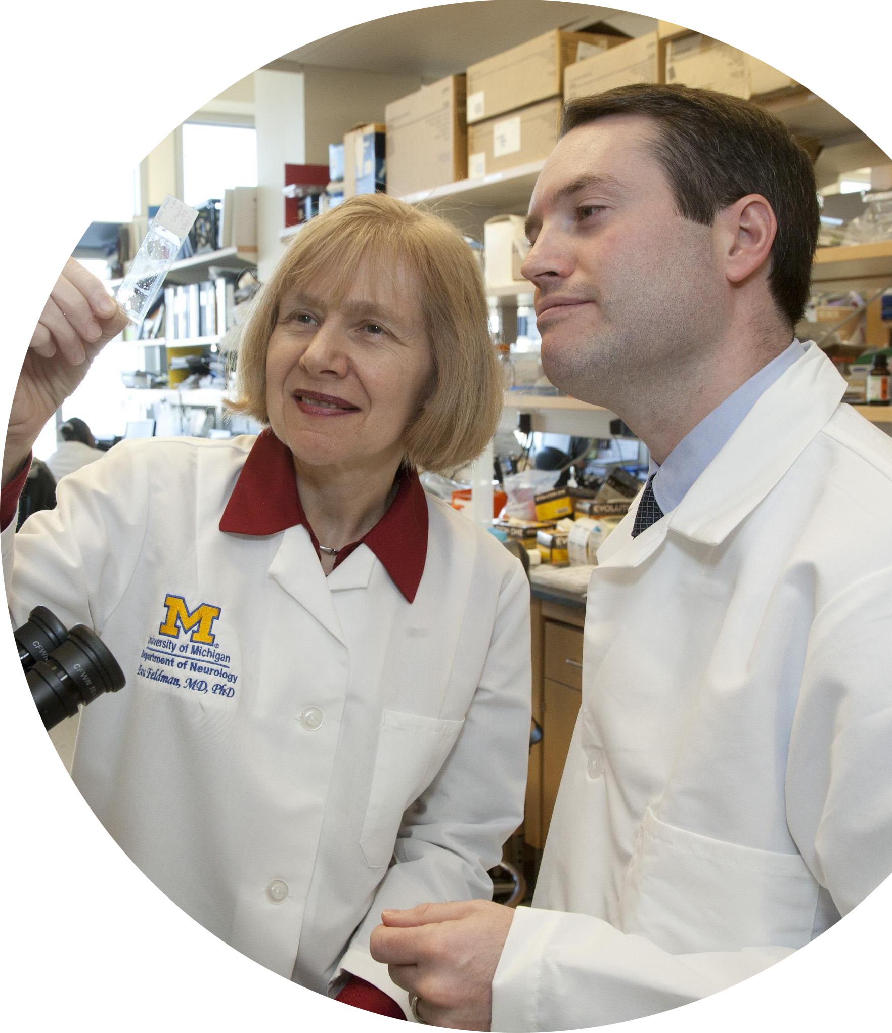 photo of Dr. Eva Feldman and Dr. Brian Callaghan in the NeuroNetwork for Emerging Therapies Lab