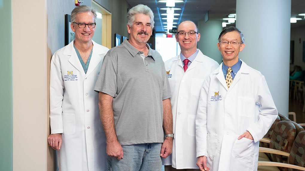Todd Osment (center) with Mark Johnson, MD, David Zacks, MD, PhD, and Helios Leung, OD, PhD
