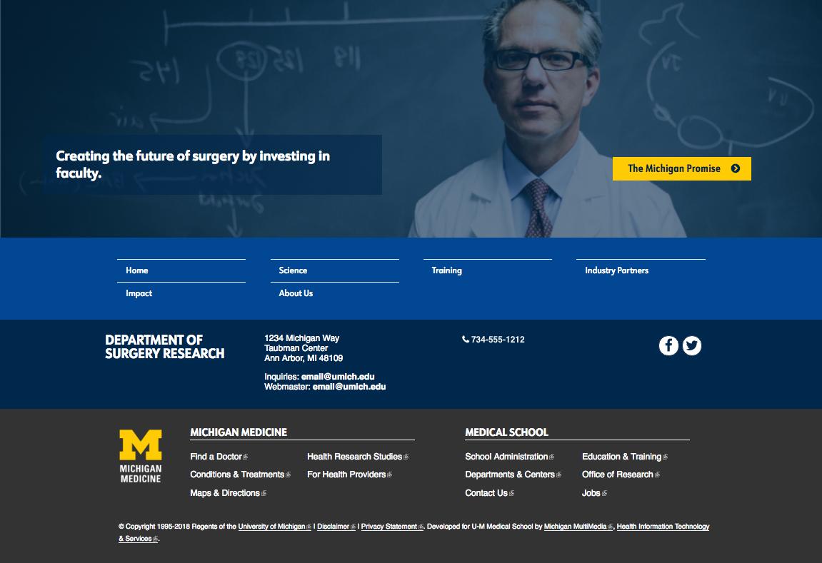 Screenshot of website image banner above website footers