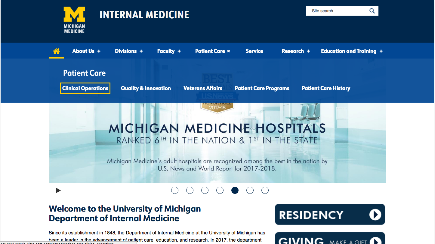 Screenshot of top navigation menu on a website showing dropdown menu panel