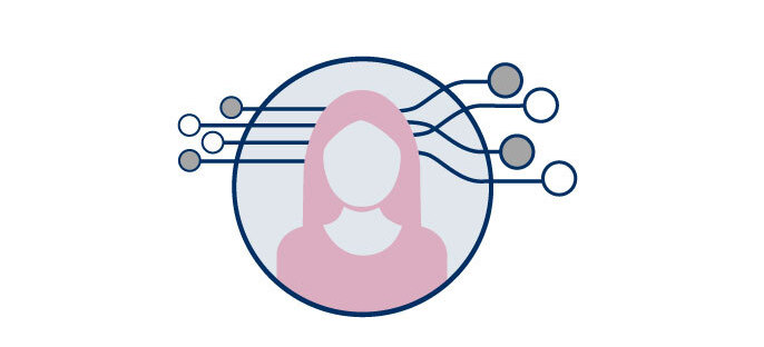 Graphic of a silhouette of a woman with images suggesting options