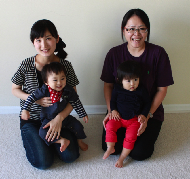 Two women & babies - japanese group prenatal