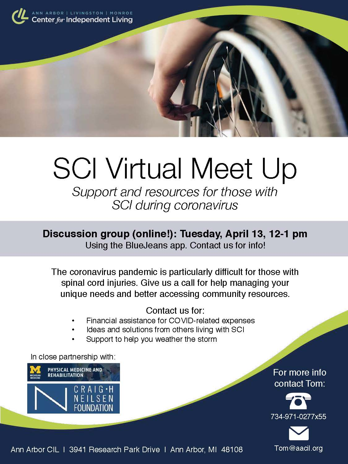 Flyer for the April SCI meetup. Full details are included in the event description.