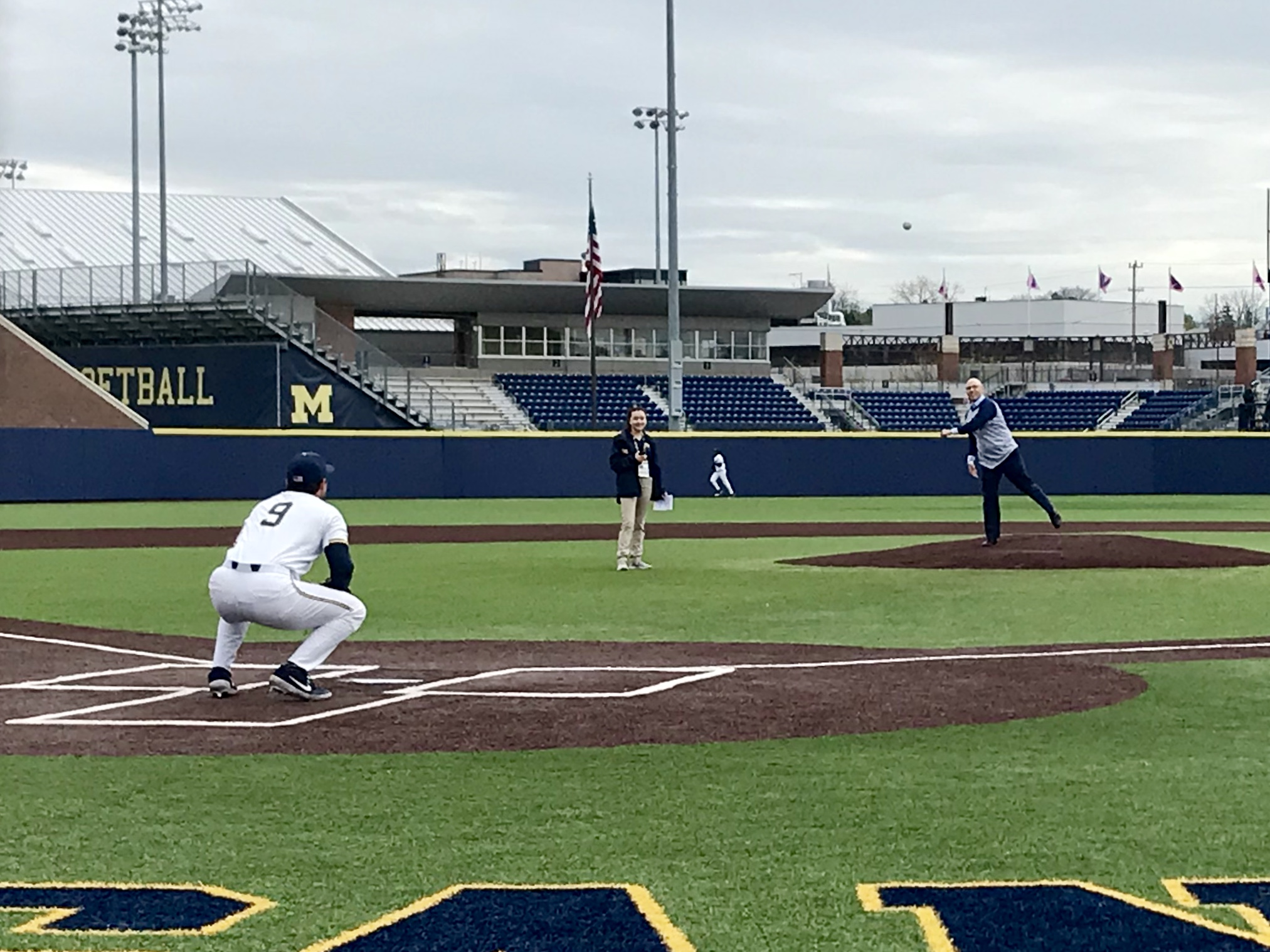 Stephen Goutman, M.D., M.S., throws out the first pitch