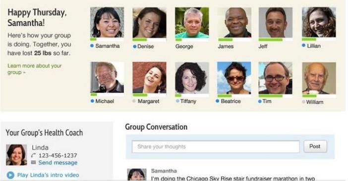 screenshot of omada online diabetes prevention program web interface