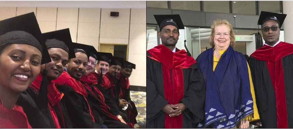 Left: A snapshot from the residency graduation at St. Paul's Hospital in Addis Ababa, Ethiopia. Right: Pediatric ophthalmologist Dr. Mandefro Sintayehu, Christine C. Nelson, M.D., and Dr. Girum Gebreal, the ophthalmology department chair.
