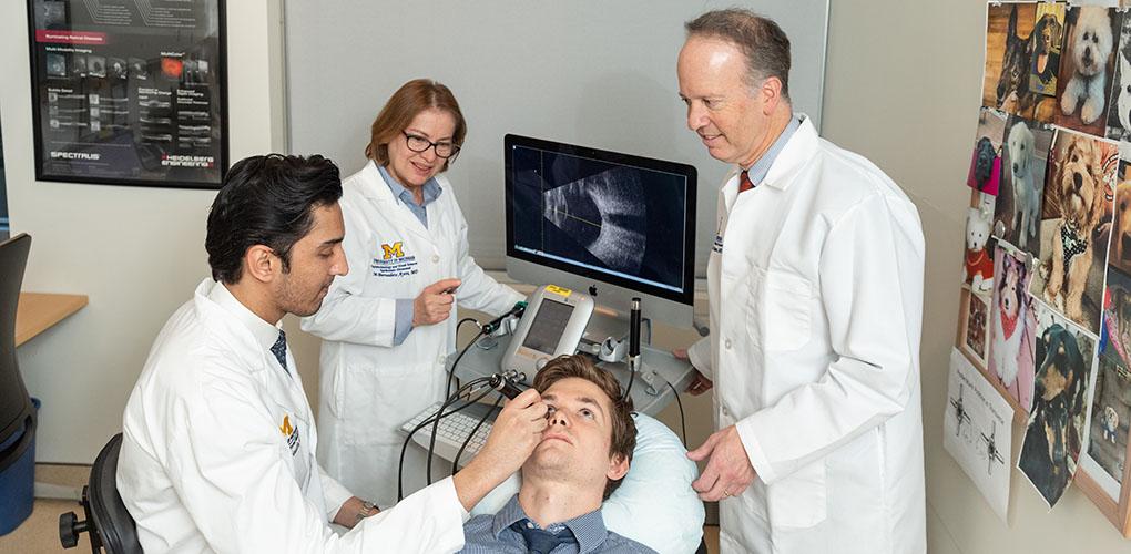 PGY1 Omar Moinuddin, M.D., Bernadete Ayres, M.D., Bradford Tannen, M.D., J.D., M.B.A., and patient Andrew McKeon.
