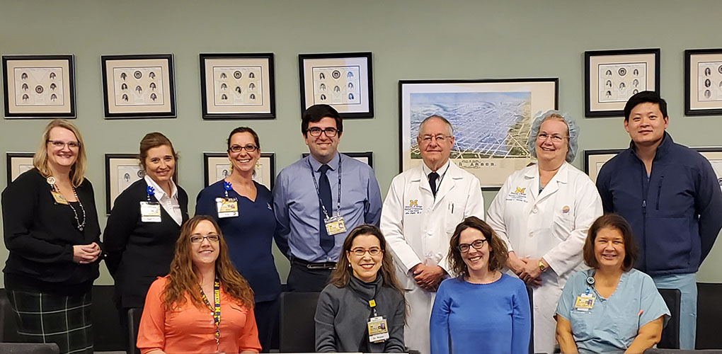 Kellogg Safety Committee team members include, from left to right in the top row, Davonn Whitcomb, Nadine VanWassehnova, Erin Manno, Stephen Armenti, M.D., Ph.D., Alan Sugar, M.D., M.S., Christine Nelson, M.D., Philip Lieu, M.D. Bottom Row: Beth Hansemann