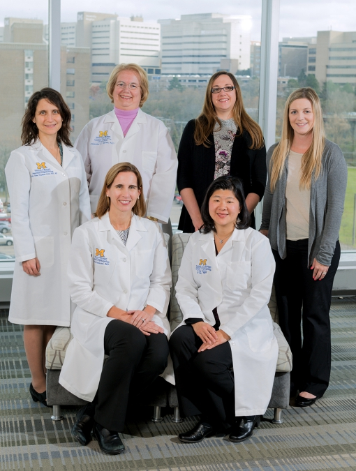 Kellogg's eHealth team includes, clockwise from left: Paula Anne Newman-Casey, MD, MS, Christine Nelson, MD, Beth Hansemann, BS, COT, Blair Snyder, COA, Rebecca Wu, MD, Mia Woodward, MD, MS.