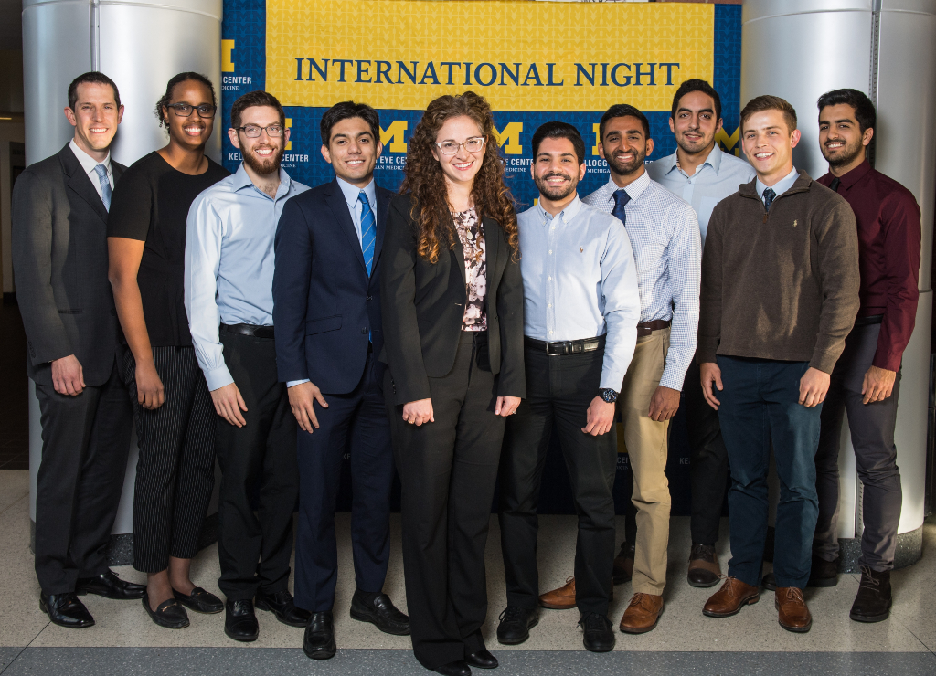 Ariane Kaplan MD with medical students at International Night 2018