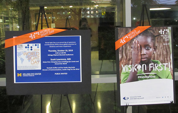Two posters from World Sight Day at the Kellogg Eye Center
