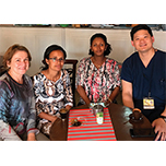 Bernadete Ayres, MD, Kellogg Chief of Ophthalmic Ultrasound (left) and Kellogg retinal specialist Philip Lieu, MD (far right) with Adugna Lissanewerk, MD, and Bezawit Tadegegne, MD, chair of Ophthalmology at St. Paul's Hospital in Addis Ababa.