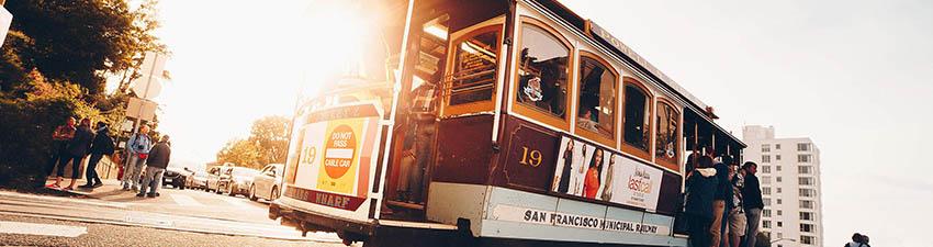 Sun shining through a cable car in San Francisco