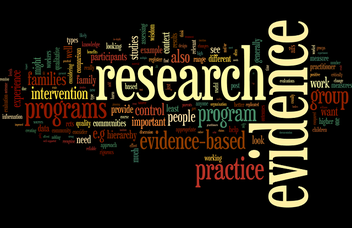Word cloud. The largest featured words are: research, evidence, practice, programs, group, program, intervention.