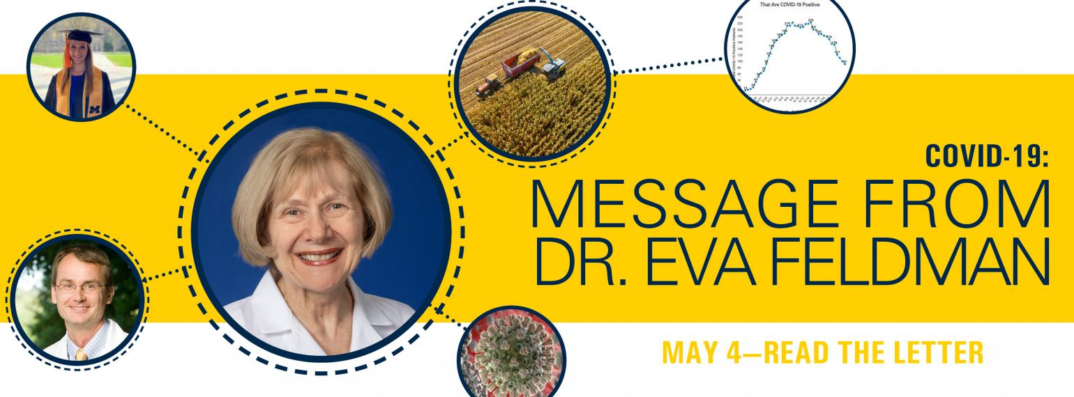 graphic that links to Dr. Eva Feldman's May 4 message about the NeuroNetwork for Emerging Therapies and COVID-19