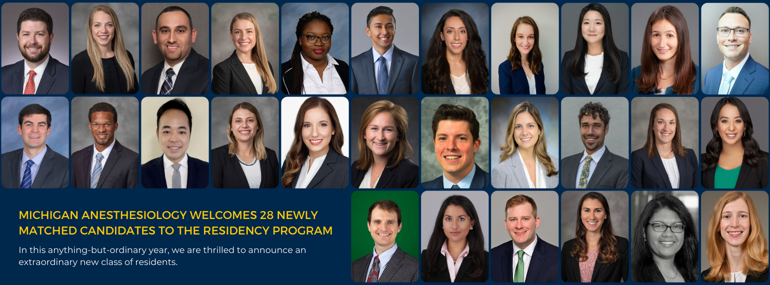 Michigan Anesthesiology welcomes 28 newly matched candidates to the residency program