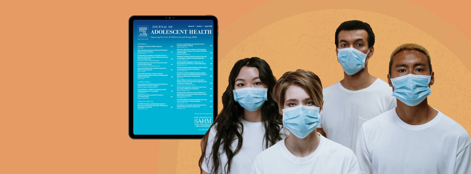 image of young people wearing masks with the cover of the journal of adolescent health in the background