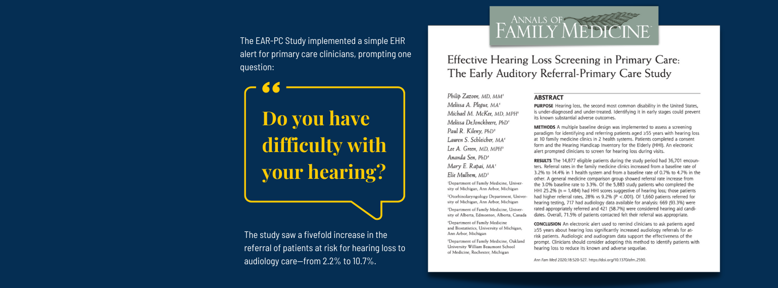The EAR-PC Study implemented a simple EHR alert for primary care clinicians, prompting one question: Do you have difficulty with your hearing? The study saw a fivefold increase in the referral of patients at risk for hearing loss to audiology care.