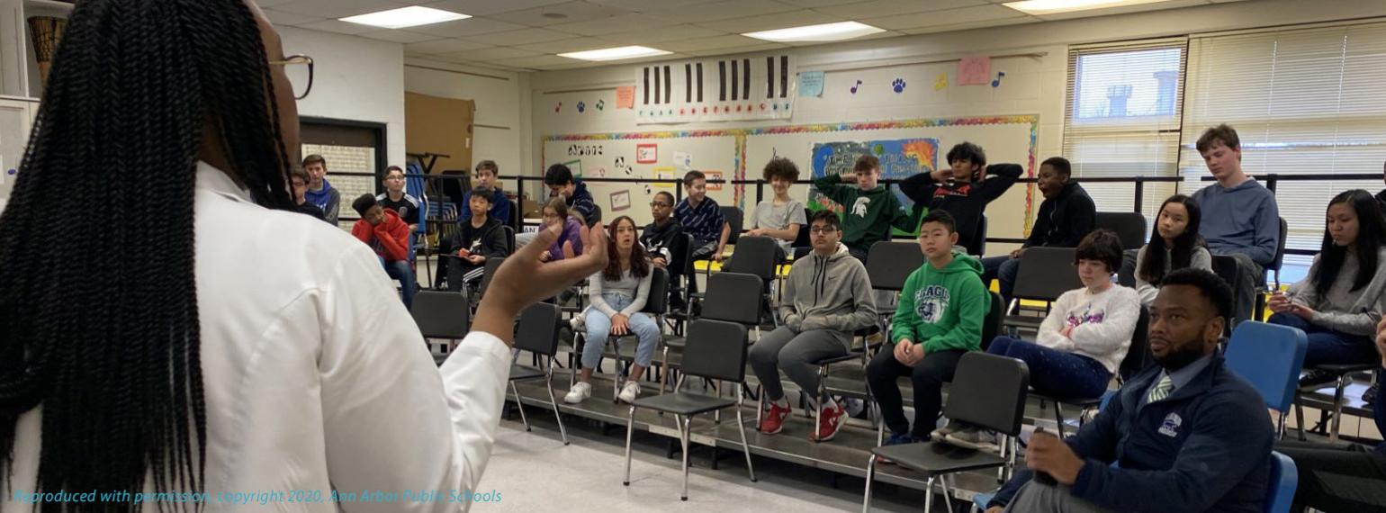 Physician speaks to students