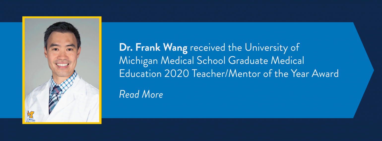 Dr. Wang receives GME Teacher of the Year Award