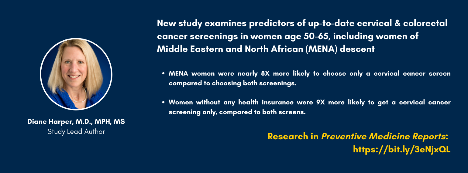 New study examines predictors of up-to-date cervical & colorectal cancer screenings in women age 50-65, including women of Middle Eastern and North African (MENA) descent.  MENA women were nearly 8X more likely to choose only a cervical cancer screen.